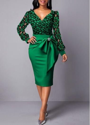 Lace Panel Back Slit Bowknot Detail Dress