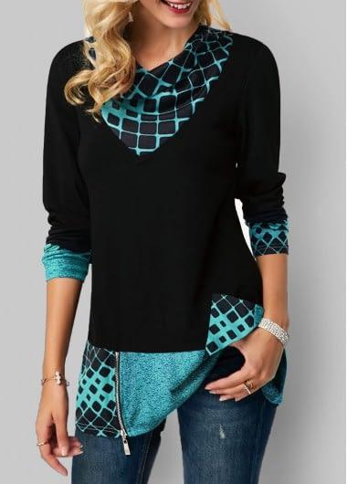 Long Sleeve Geometric Print Zipper Detail T Shirt