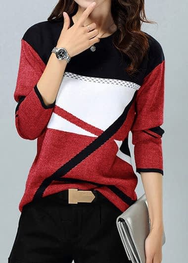 Geometric Print Pullover Long Sleeve Sweater